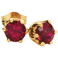 ruby stud earrings earrings with created ruby in 10kt yellow gold