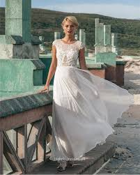 informal wedding dresses uk ivory cap sleeve a line informal lace wedding dress chiffon