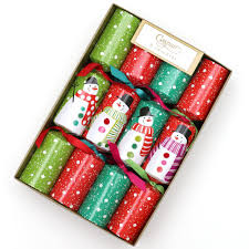 christmas crackers pom pom snowmen celebration christmas crackers 8 per box caspari