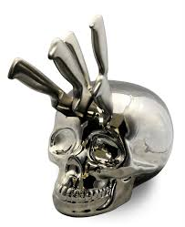 chrome skull knife block boing boing kitchen gear and ideas