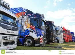 volvo big rig trucks row of volvo show trucks editorial photography image 58100447