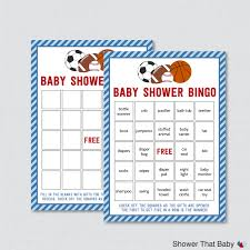 sports themed baby shower bingo printable prefilled bingo