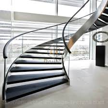 china modern helical staircase with marble stair tread curved