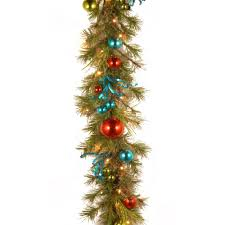 decorative collection 9 ft retro garland with battery operated
