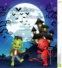 this is halloween background halloween background with kids frankenstein and red devil stock