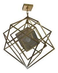 Geometric Pendant Light by Geometric Gold Cube Pendant Light Chairish