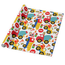 boys construction birthday wrapping paper zazzle