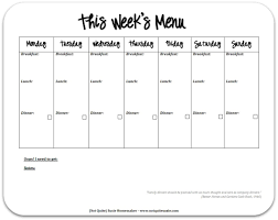 printable menu planner pages best photos of blank meal planner sheet printable 7 day meal