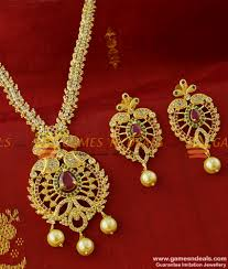 cz imitation pearl necklace set gold plated south indian jewelry