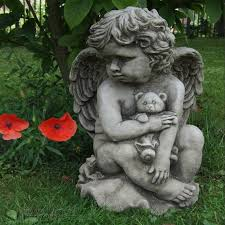 teddy cherub cast garden ornament statue grave memorial