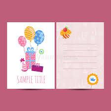 happy birthday postcards happy birthday postcard vector illustration stock vector