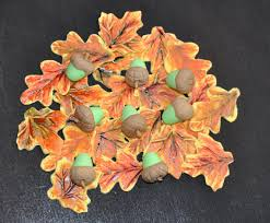 Fall Cake Decorations Edible Fall Leaves And Acorn Made Of Fondant And Gumpaste