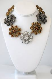 black flower necklace images Three flower necklace gold silver and black flower cz heftsi JPG