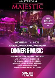 dinner party music dinner u0026 music 16 december 2015 majestic amsterdam event
