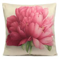 rose flowers cotton linen throw pillow case sofa bed car cushion