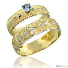light blue sapphire ring 10k gold 2 piece 0 25 carat light blue sapphire ring set engagement
