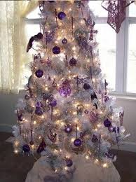 white tree with purple decorations designcorner