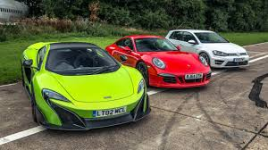 nomad drag car top gear drag races 8 mclaren 675 vs 911 carrera gts vs golf r