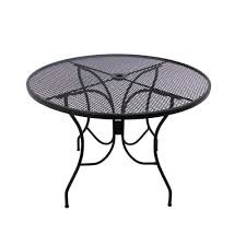 Mesh Wrought Iron Patio Furniture by Arlington House Glenbrook 48 In Black Round Patio Dining Table