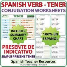 tener spanish verb conjugation worksheets present tense tpt