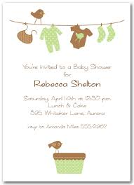 green brown baby laundry line baby shower invitation