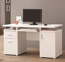Crate And Barrel Computer Desk by Coaster Desks White Computer Desk With 2 Drawers U0026 Cabinet