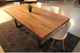 straight cut acacia wood table with heavy duty chrome square legs