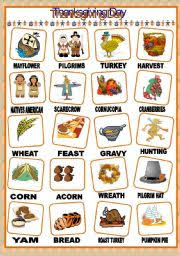 worksheet thanksgiving day pictionary