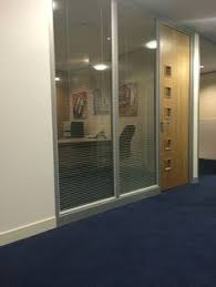 Double Glazed Units With Integral Blinds Prices Glass Office Partition With Frosted Elements And Solid Wood Door