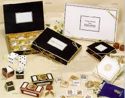 gold foil gift boxes specialty candies and mints from sand scripts