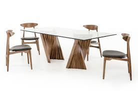 modrest corbin modern walnut u0026 glass dining table