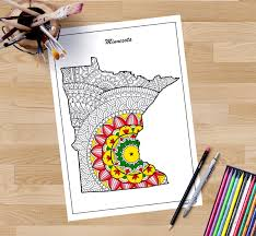 minnesota decorative map coloring pages for adults zentangle