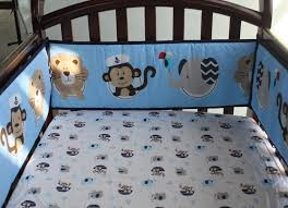 blue navigation monkey whale baby bedding set cot crib bedding set