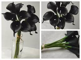 2017 10 single stem real touch flowers black calla lily black
