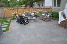 reclaimed barr pavers bluestone patio and natural stone fire pit
