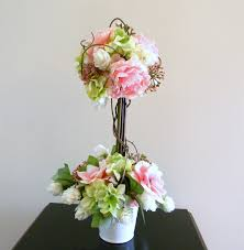 Pre Lit Topiary Beautiful Pink U0026 Ivory Rose Topiary Tree Wedding Flowers Table