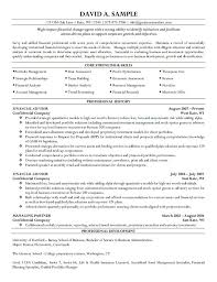 Resumes Sample by Advisor Resume