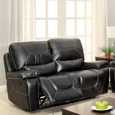 Black Leather Reclining Loveseat Bennett Black Leather Reclining Loveseat Free Shipping Today