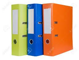 bureau coloré dossiers de bureau coloré isolé sur fond blanc banque d images et