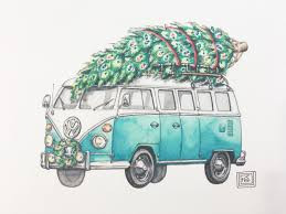 volkswagen bus drawing christmas vw art print christmas holiday watercolor