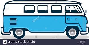 volkswagen hippie van clipart vintage blue van vector illustration stock vector art
