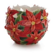 Franz Vase Poinsettia Design Sculptured Porcelain Small Vase 17 5 Cm Franz