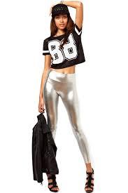 plus size silver shiny classic metallic leggings