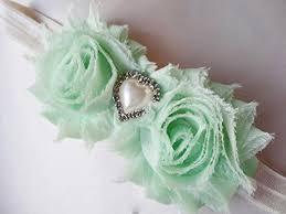 thistle mint green headband mint shabby chic