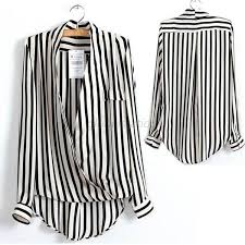 black and white striped blouse s black white striped chiffon blouse tops sleeve shirts