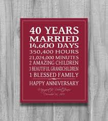 40th anniversary gift 40 years of marriage milestones one blessed