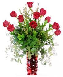Red Flowers In A Vase Single Dozen Red Rose Vase