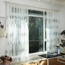 White Curtains With Blue Pattern Elegant White Sheer Curtain Embroidered With Blue Floral Pattern