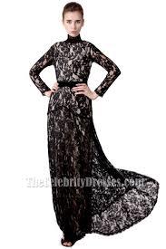 floor length black lace v neck long sleeve evening prom dress