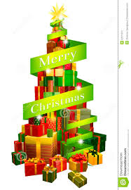 gifts tree with merry christmas ribbon stock image image 27671241